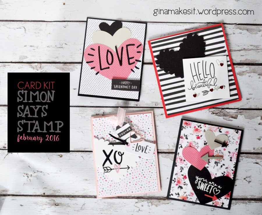 4 Cards: Simon Says Stamp February 2016 Card Kit