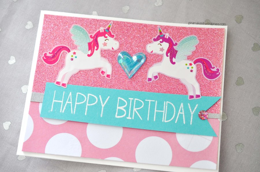 Little Girl Unicorn Birthday Card